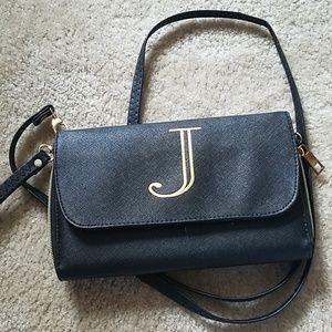 BLACK AND GOLD J CROSSBODY BAG!!